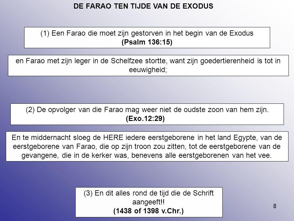 8 DE FARAO TEN TIJDE VAN DE EXODUS (2) De opvolger van die Farao mag weer niet de oudste zoon van hem zijn. (Exo.12:29) (1) Een Farao die moet zijn ge