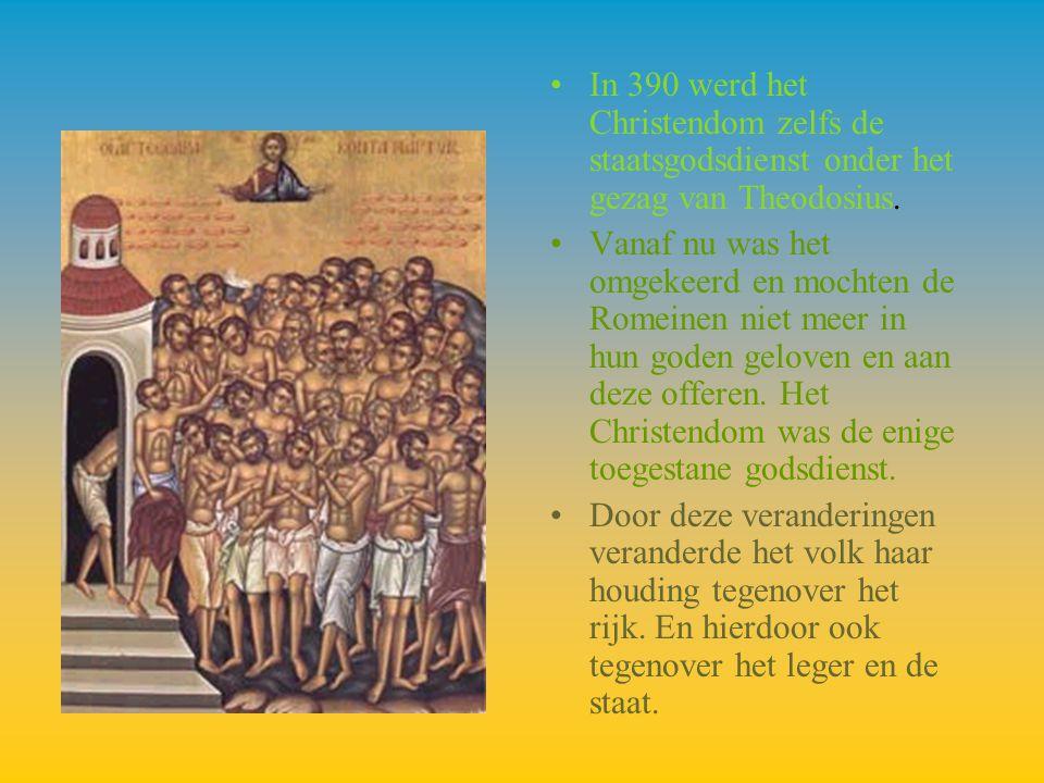 In 390 werd het Christendom zelfs de staatsgodsdienst onder het gezag van Theodosius. Vanaf nu was het omgekeerd en mochten de Romeinen niet meer in h