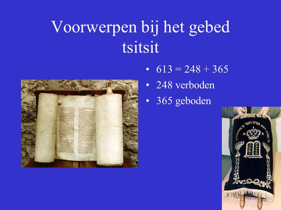 Voorwerpen bij het gebed tsitsit 613 = 248 + 365 248 verboden 365 geboden