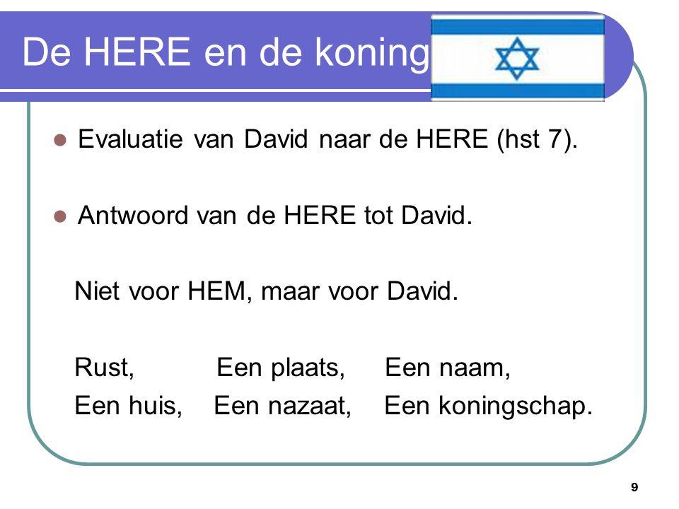 9 De HERE en de koning Evaluatie van David naar de HERE (hst 7).