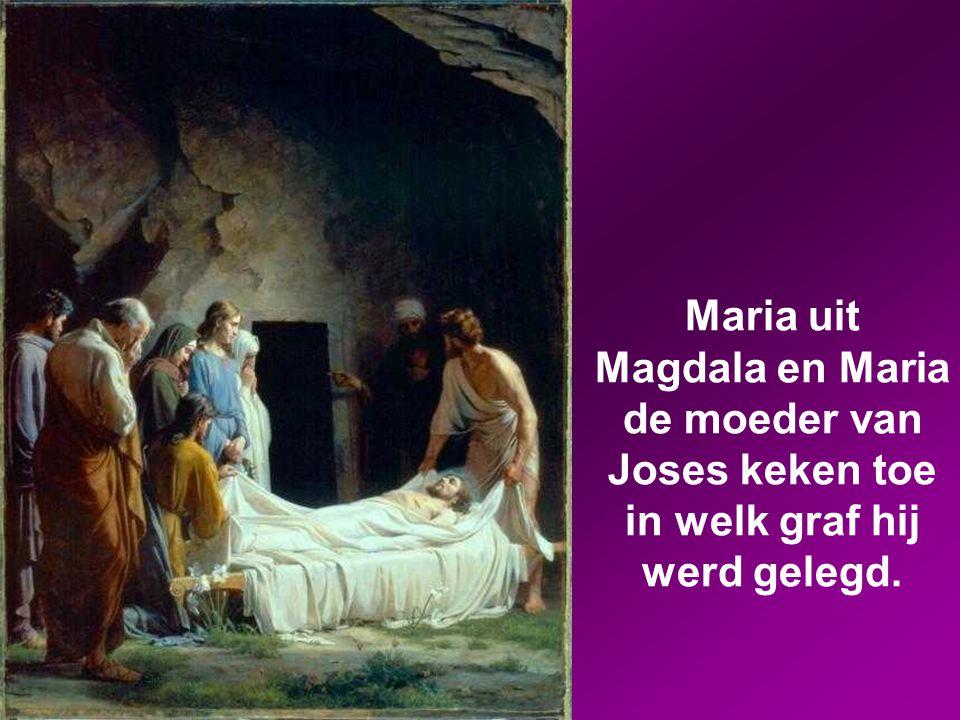 Josef kocht een stuk linnen, haalde Jezus van het kruis en wikkelde hem in het linnen. Daarna legde hij hem in een graf dat in de rots was uitgehouwen