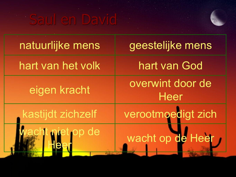 Saul en David natuurlijke mensgeestelijke mens hart van het volkhart van God eigen kracht overwint door de Heer kastijdt zichzelfverootmoedigt zich wa