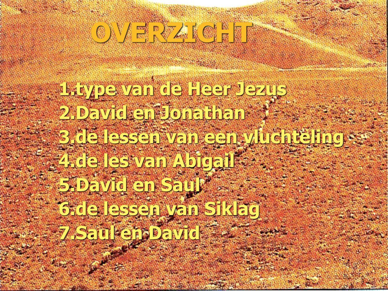 OVERZICHT 1. type van de Heer Jezus 2. David en Jonathan 3. de lessen van een vluchteling 4. de les van Abigail 5. David en Saul 6. de lessen van Sikl