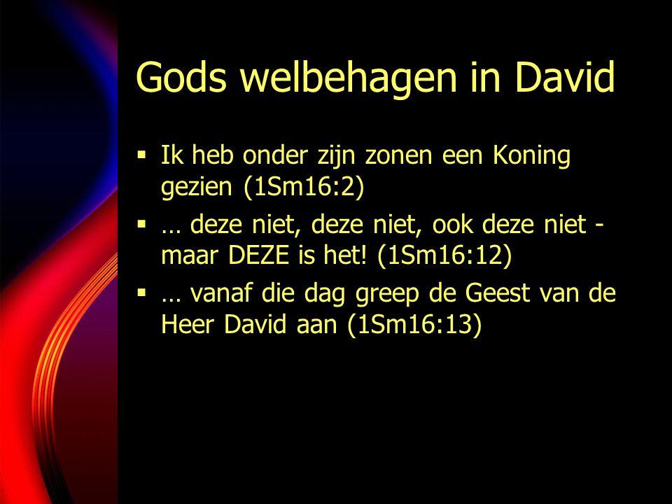 Gods welbehagen in David  Ik heb onder zijn zonen een Koning gezien (1Sm16:2)  … deze niet, deze niet, ook deze niet - maar DEZE is het.