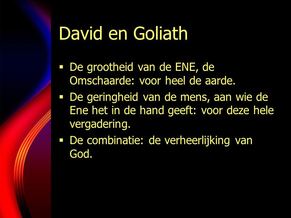 David en Goliath  De grootheid van de ENE, de Omschaarde: voor heel de aarde.