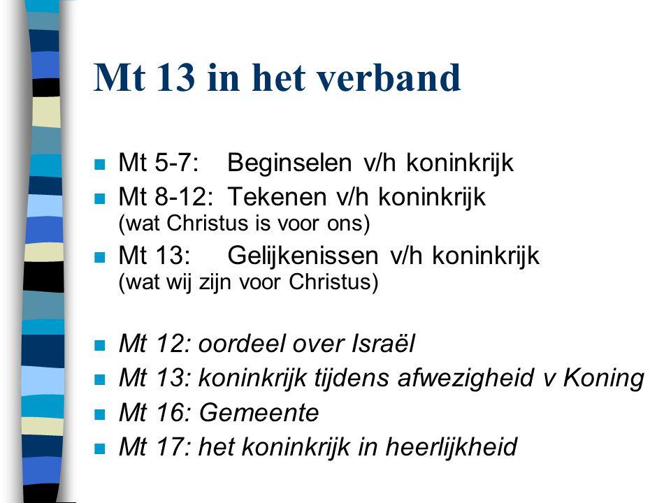 Indeling van Mt 13 1.Tot de menigten (3-33) a)Zaaier (3-9) b)Intermezzo (10-23) (met) 1)Het begrijpen van gelijkenissen (10-17) 2)Uitleg van Zaaier (18-23) c)Dolik (24-30) – 'voleinding' d)Mosterdzaad (31v.) e)Zuurdeeg (33) – 'verborg' 2.Pauze (34-43) (met uitleg van Dolik) 3.Tot de discipelen (44-52) a)Schat (44) – 'verborg' b)Parel (45v.) c)Sleepnet (47v.) – 'voleinding' d)Intermezzo (49-51) 1)Uitleg van Sleepnet (49-50) 2)Het begrijpen van gelijkenissen (51) e)Schriftgeleerde (52)
