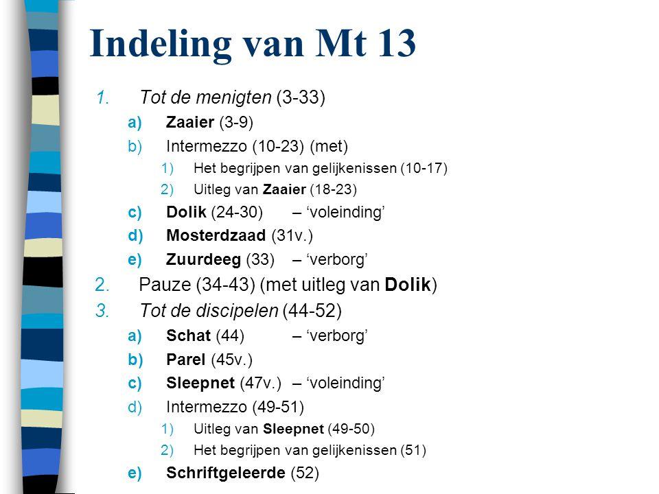 Indeling van Mt 13 1.Tot de menigten (3-33) a)Zaaier (3-9) b)Intermezzo (10-23) (met) 1)Het begrijpen van gelijkenissen (10-17) 2)Uitleg van Zaaier (1