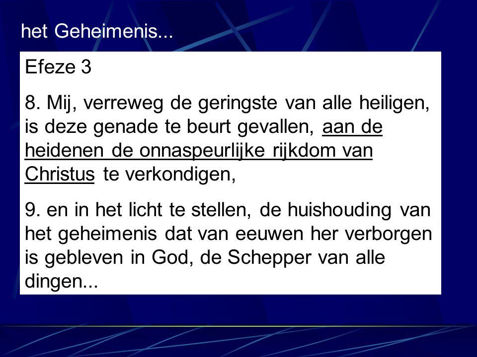 Efeze 3 8. Mij, verreweg de geringste van alle heiligen, is deze genade te beurt gevallen, aan de heidenen de onnaspeurlijke rijkdom van Christus te v