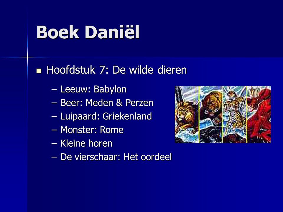 Boek Daniël Hoofdstuk 7: De wilde dieren Hoofdstuk 7: De wilde dieren –Leeuw: Babylon –Beer: Meden & Perzen –Luipaard: Griekenland –Monster: Rome –Kle
