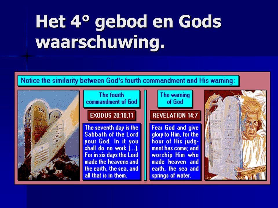 De 3 engelen boodschap Op 14: 9,10,12 Op 14: 9,10,12 –En een andere engel, een derde, volgde hen, zeggende met luider stem: Indien iemand het beest en zijn beeld aanbidt en het merkteken op zijn voorhoofd of op zijn hand ontvangt, die zal ook drinken van de wijn van Gods gramschap, die ongemengd is toebereid in de beker van zijn toorn; en hij zal gepijnigd worden met vuur en zwavel ten aanschouwen van de heilige engelen en van het Lam –Hier blijkt de volharding der heiligen, die de geboden Gods en het geloof in Jezus bewaren Gods laatste boodschap is duidelijk Het is door het houden van de 10 geboden met de Sabbat als zegel dat men geen deel heeft aan het merkteken van het beest.