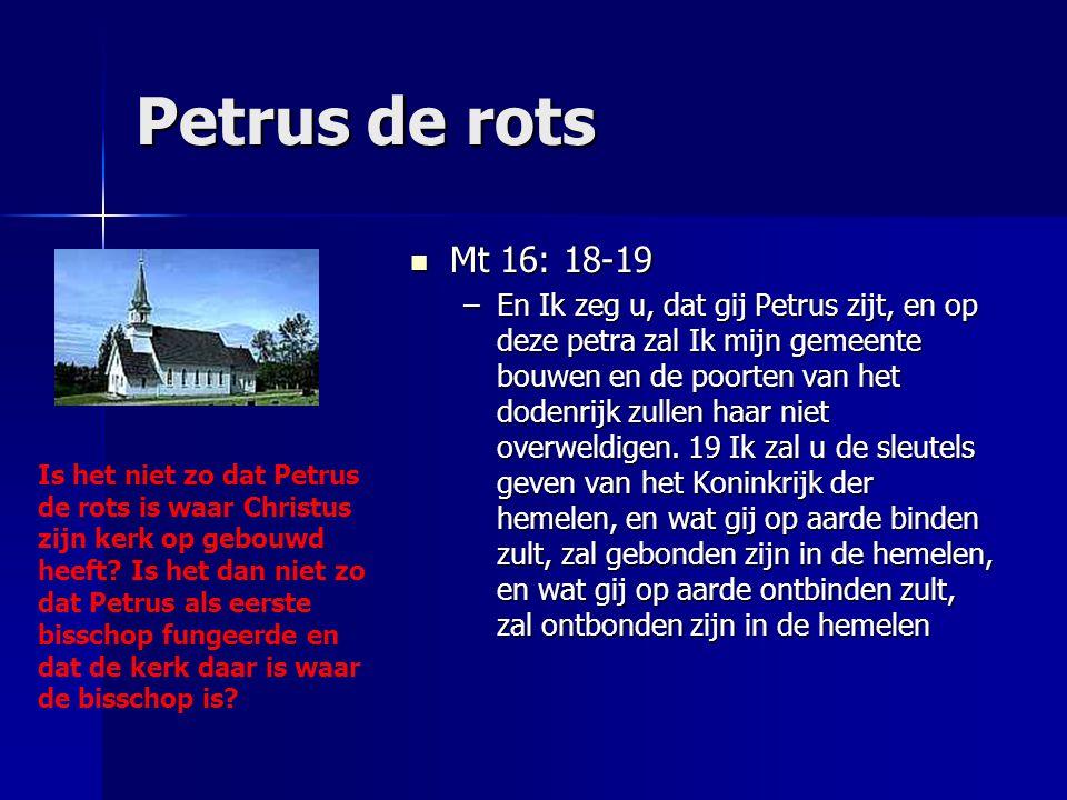 Petrus de rots Mt 16: 18-19 Mt 16: 18-19 –En Ik zeg u, dat gij Petrus zijt, en op deze petra zal Ik mijn gemeente bouwen en de poorten van het dodenri