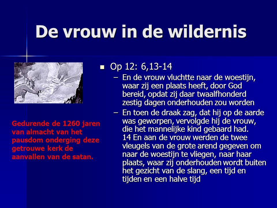 De vrouw in de wildernis Op 12: 6,13-14 Op 12: 6,13-14 –En de vrouw vluchtte naar de woestijn, waar zij een plaats heeft, door God bereid, opdat zij d