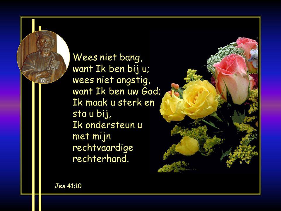 Jes 41:10 Wees niet bang, want Ik ben bij u; wees niet angstig, want Ik ben uw God; Ik maak u sterk en sta u bij, Ik ondersteun u met mijn rechtvaardige rechterhand.