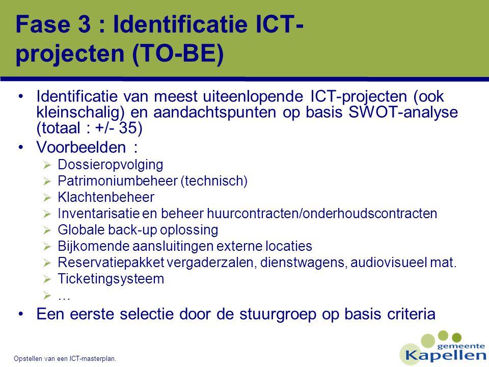 Opstellen van een ICT-masterplan. Fase 3 : Identificatie ICT- projecten (TO-BE) Identificatie van meest uiteenlopende ICT-projecten (ook kleinschalig)
