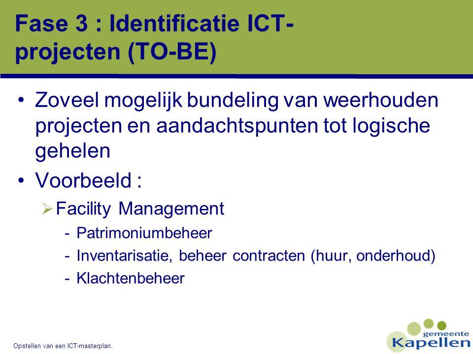 Opstellen van een ICT-masterplan. Fase 3 : Identificatie ICT- projecten (TO-BE) Zoveel mogelijk bundeling van weerhouden projecten en aandachtspunten