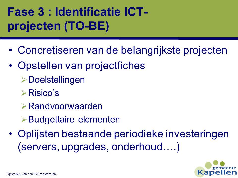 Opstellen van een ICT-masterplan. Fase 3 : Identificatie ICT- projecten (TO-BE) Concretiseren van de belangrijkste projecten Opstellen van projectfich