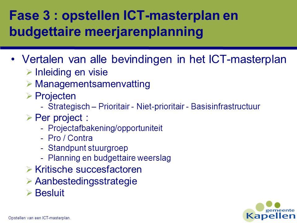 Opstellen van een ICT-masterplan. Fase 3 : opstellen ICT-masterplan en budgettaire meerjarenplanning Vertalen van alle bevindingen in het ICT-masterpl