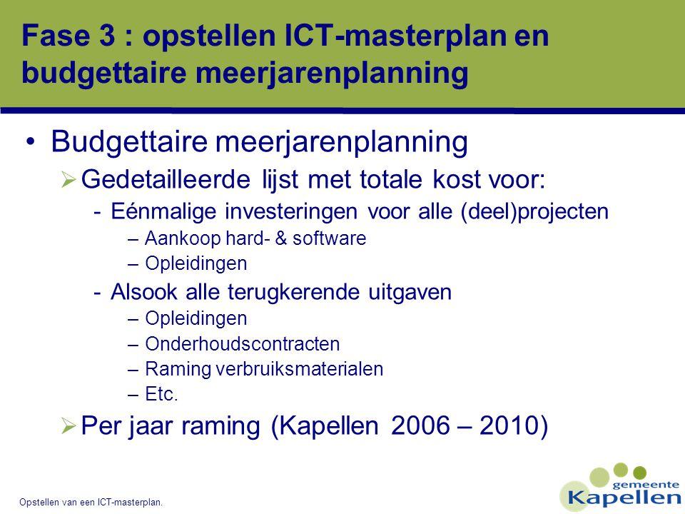 Opstellen van een ICT-masterplan. Fase 3 : opstellen ICT-masterplan en budgettaire meerjarenplanning Budgettaire meerjarenplanning  Gedetailleerde li