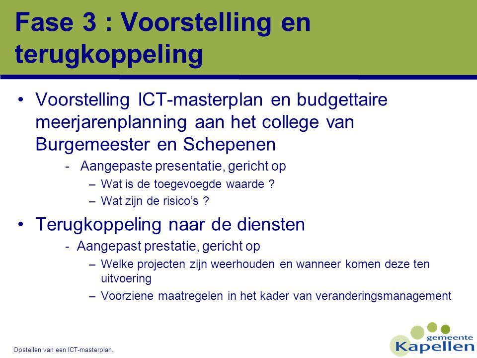 Opstellen van een ICT-masterplan. Fase 3 : Voorstelling en terugkoppeling Voorstelling ICT-masterplan en budgettaire meerjarenplanning aan het college