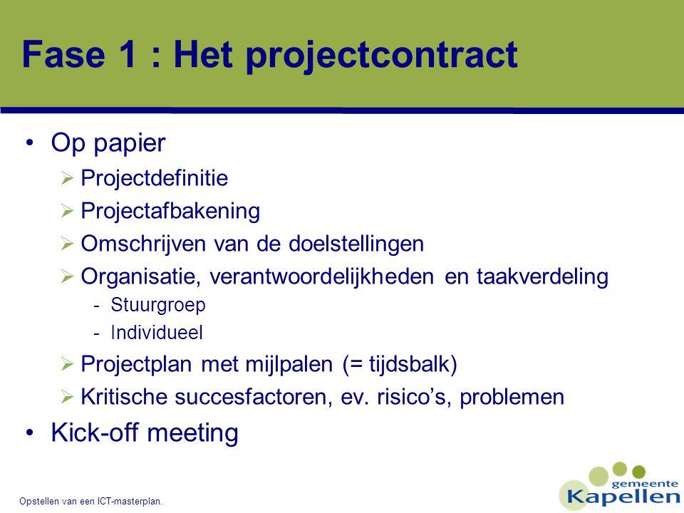 Opstellen van een ICT-masterplan. Fase 1 : Het projectcontract Op papier  Projectdefinitie  Projectafbakening  Omschrijven van de doelstellingen 