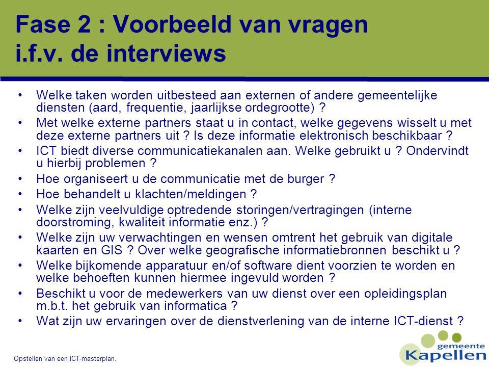Opstellen van een ICT-masterplan. Fase 2 : Voorbeeld van vragen i.f.v. de interviews Welke taken worden uitbesteed aan externen of andere gemeentelijk