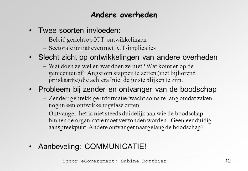 Spoor eGovernment: Sabine Rotthier 12 Andere overheden Twee soorten invloeden: –Beleid gericht op ICT-ontwikkelingen –Sectorale initiatieven met ICT-i