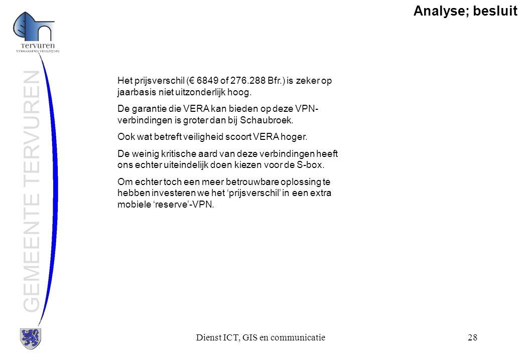 Dienst ICT, GIS en communicatie28 GEMEENTE TERVUREN Analyse; besluit Het prijsverschil (€ 6849 of 276.288 Bfr.) is zeker op jaarbasis niet uitzonderli
