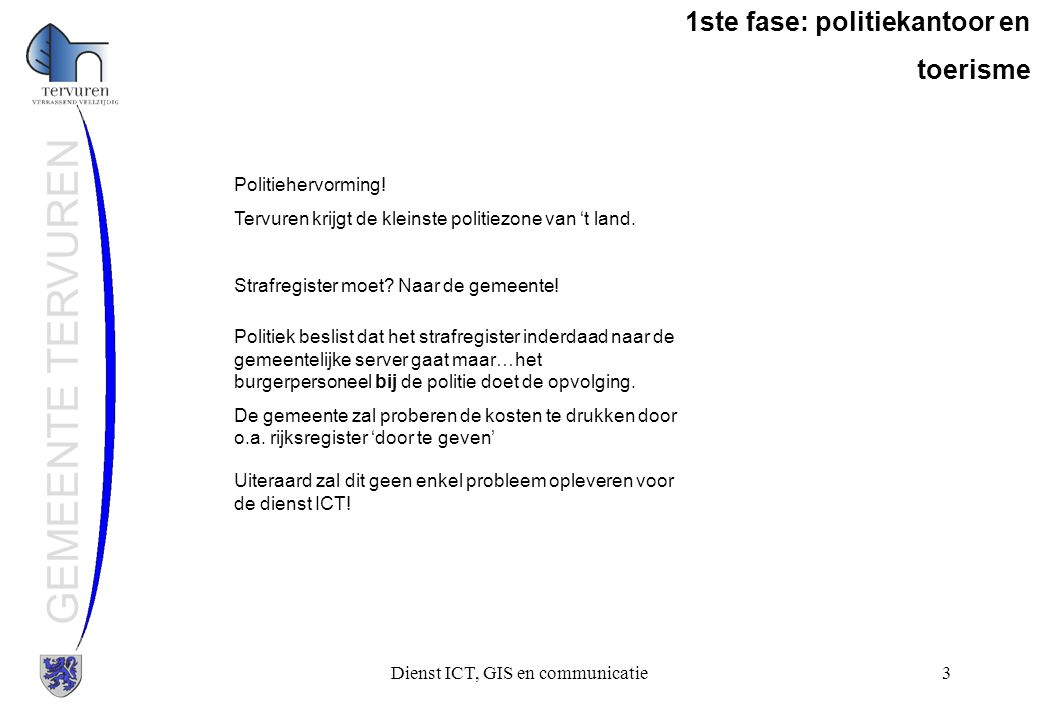 Dienst ICT, GIS en communicatie24 GEMEENTE TERVUREN 3de fase: wat overblijft Schaubroeck::