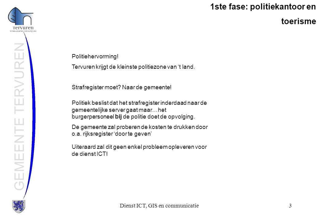 Dienst ICT, GIS en communicatie4 GEMEENTE TERVUREN 1ste fase: politiekantoor en toerisme Analyse: Politiekantoor is op 300 meter van het gemeentehuis.