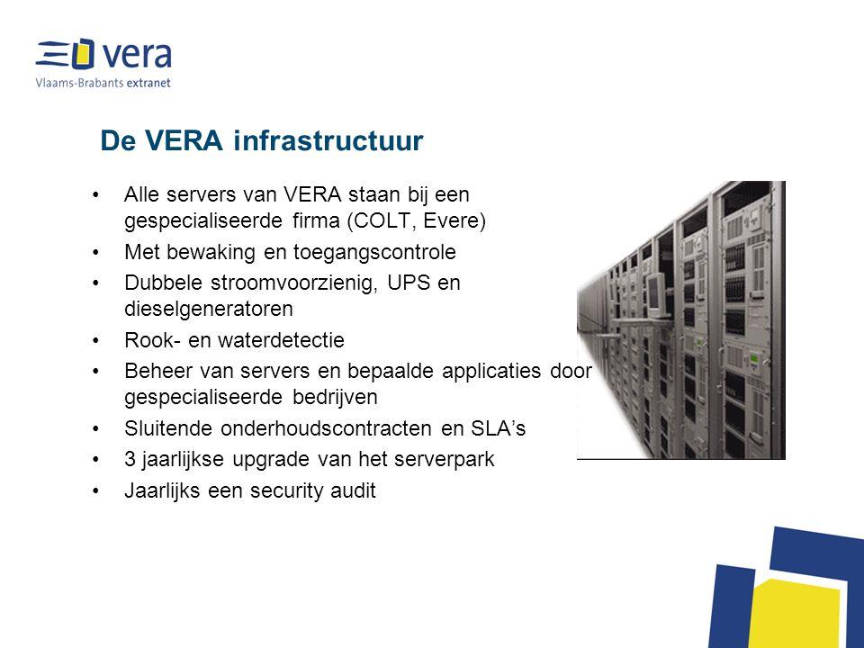 De VERA infrastructuur Alle servers van VERA staan bij een gespecialiseerde firma (COLT, Evere) Met bewaking en toegangscontrole Dubbele stroomvoorzienig, UPS en dieselgeneratoren Rook- en waterdetectie Beheer van servers en bepaalde applicaties door gespecialiseerde bedrijven Sluitende onderhoudscontracten en SLA's 3 jaarlijkse upgrade van het serverpark Jaarlijks een security audit