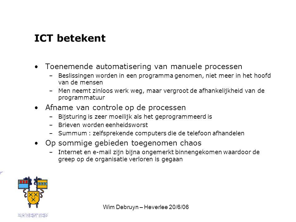 Wim Debruyn – Heverlee 20/6/06 ICT betekent Toenemende automatisering van manuele processen –Beslissingen worden in een programma genomen, niet meer in het hoofd van de mensen –Men neemt zinloos werk weg, maar vergroot de afhankelijkheid van de programmatuur Afname van controle op de processen –Bijsturing is zeer moeilijk als het geprogrammeerd is –Brieven worden eenheidsworst –Summum : zelfsprekende computers die de telefoon afhandelen Op sommige gebieden toegenomen chaos –Internet en e-mail zijn bijna ongemerkt binnengekomen waardoor de greep op de organisatie verloren is gegaan