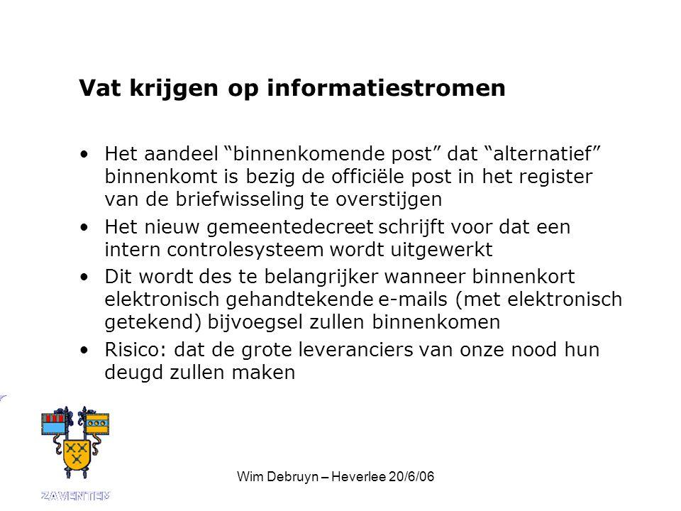 Wim Debruyn – Heverlee 20/6/06 Veranderingsbeleid De administratie is er meestal klaar voor : zij zijn al lang van steekkaarten op software overgestapt Het bestuur moet bereid zijn om erin te investeren VRAAG: moeten we voor e-mail en Internetgebruik niet volledig her-bronnen?