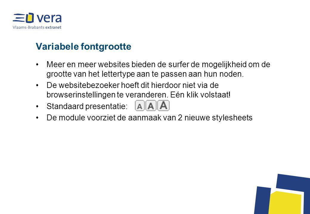 Variabele fontgrootte Meer en meer websites bieden de surfer de mogelijkheid om de grootte van het lettertype aan te passen aan hun noden.