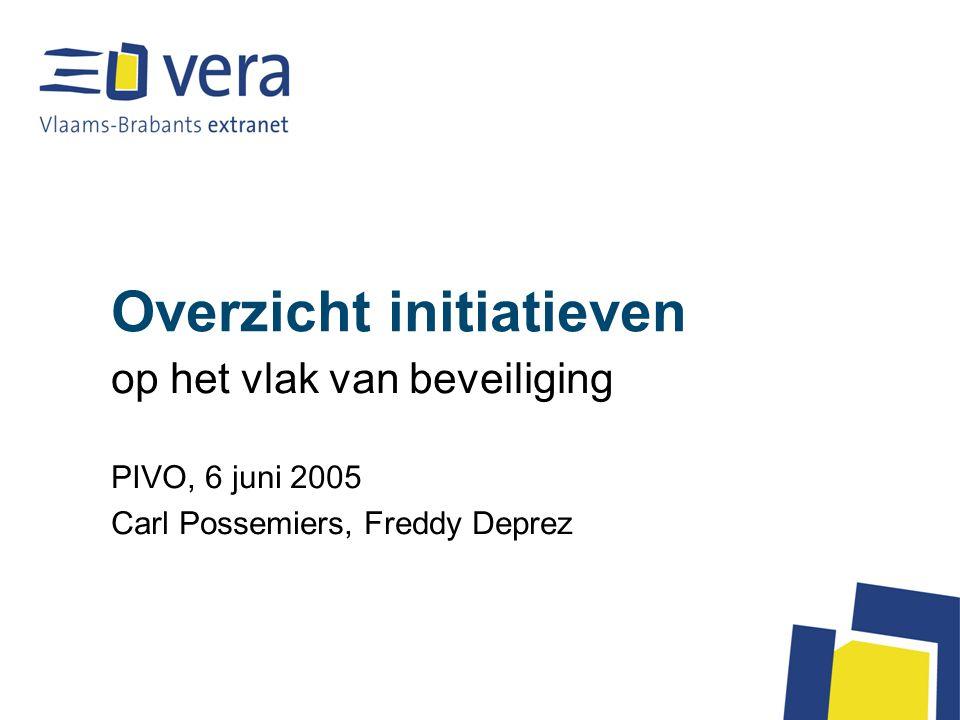 Overzicht initiatieven op het vlak van beveiliging PIVO, 6 juni 2005 Carl Possemiers, Freddy Deprez