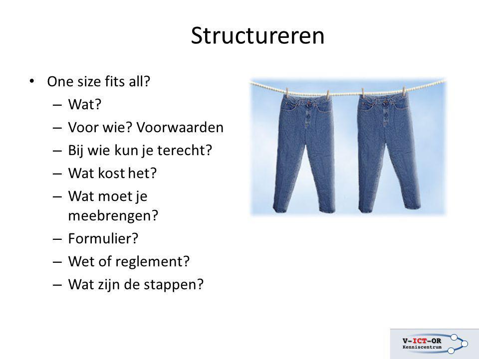 Structureren One size fits all? – Wat? – Voor wie? Voorwaarden – Bij wie kun je terecht? – Wat kost het? – Wat moet je meebrengen? – Formulier? – Wet