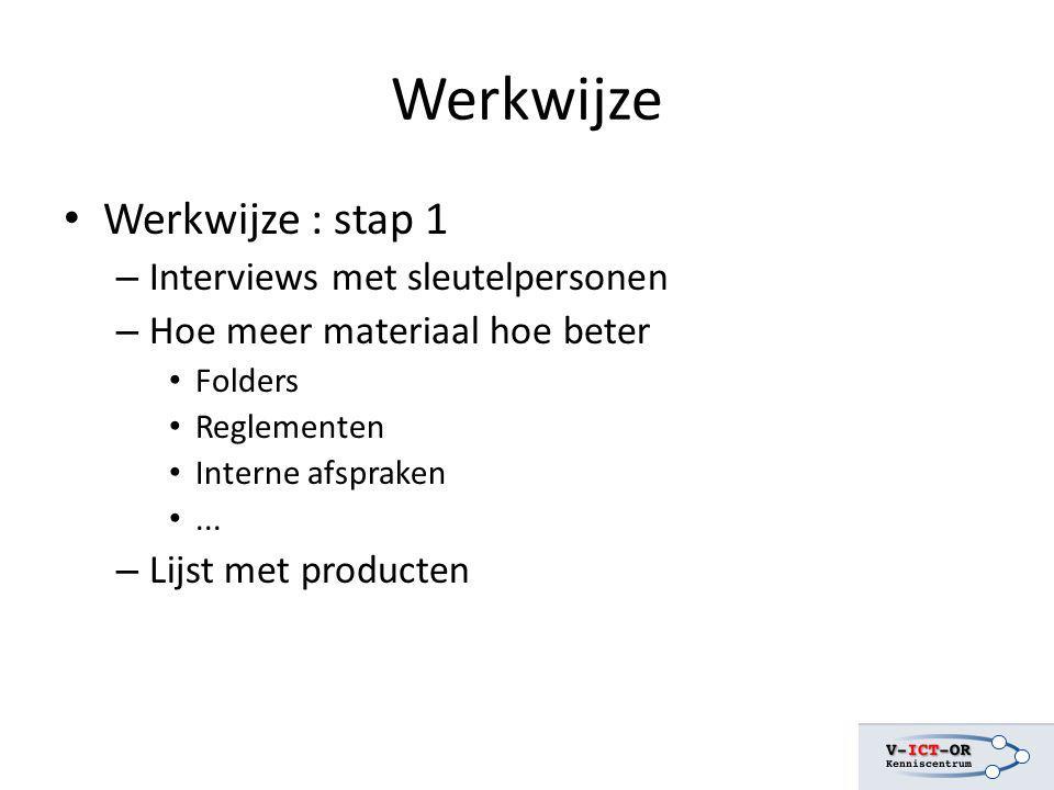 Werkwijze Werkwijze : stap 1 – Interviews met sleutelpersonen – Hoe meer materiaal hoe beter Folders Reglementen Interne afspraken... – Lijst met prod