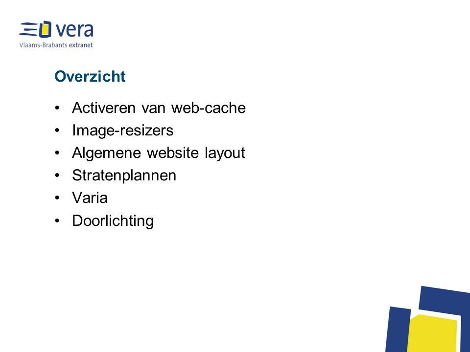 Overzicht Activeren van web-cache Image-resizers Algemene website layout Stratenplannen Varia Doorlichting