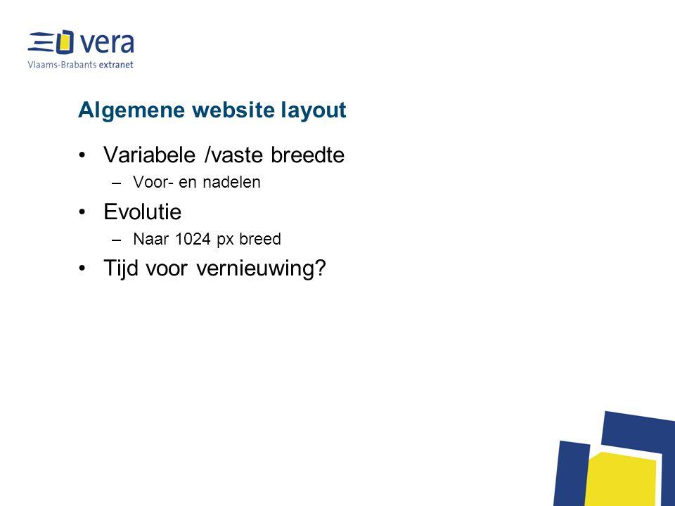 Algemene website layout Variabele /vaste breedte –Voor- en nadelen Evolutie –Naar 1024 px breed Tijd voor vernieuwing?