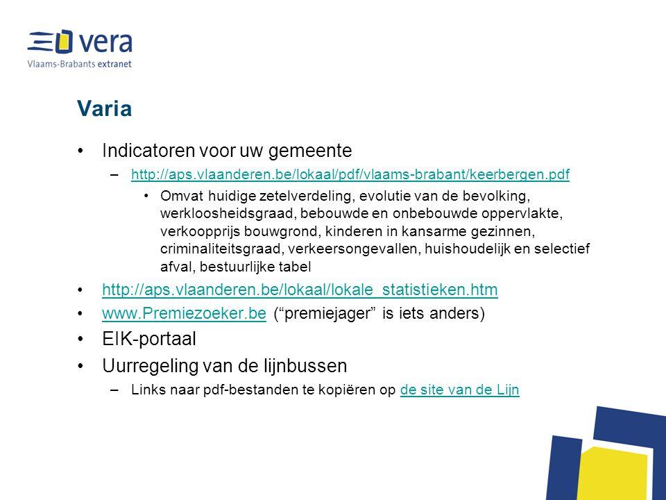 Varia Indicatoren voor uw gemeente –http://aps.vlaanderen.be/lokaal/pdf/vlaams-brabant/keerbergen.pdfhttp://aps.vlaanderen.be/lokaal/pdf/vlaams-braban