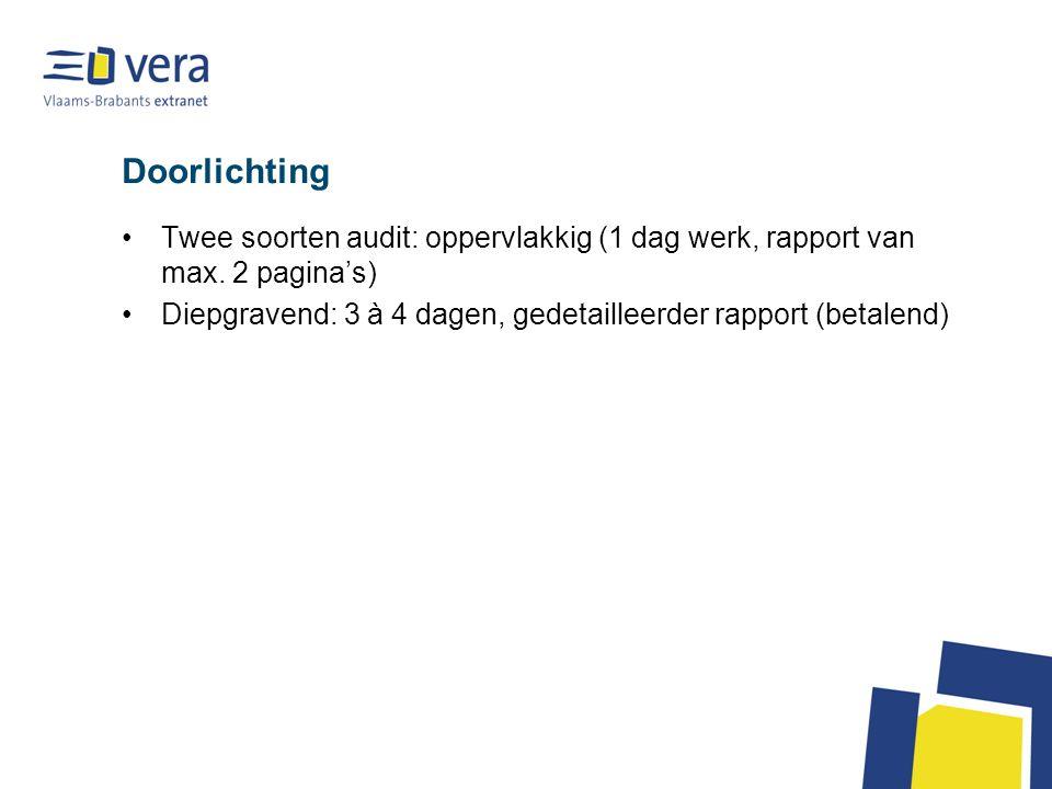 Doorlichting Twee soorten audit: oppervlakkig (1 dag werk, rapport van max. 2 pagina's) Diepgravend: 3 à 4 dagen, gedetailleerder rapport (betalend)