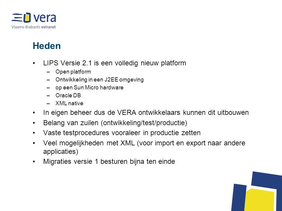 Heden LIPS Versie 2.1 is een volledig nieuw platform –Open platform –Ontwikkeling in een J2EE omgeving –op een Sun Micro hardware –Oracle DB –XML nati