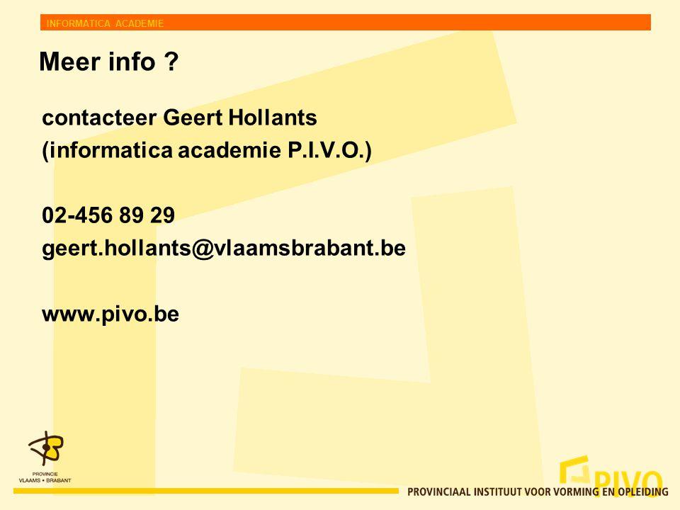 INFORMATICA ACADEMIE Meer info .