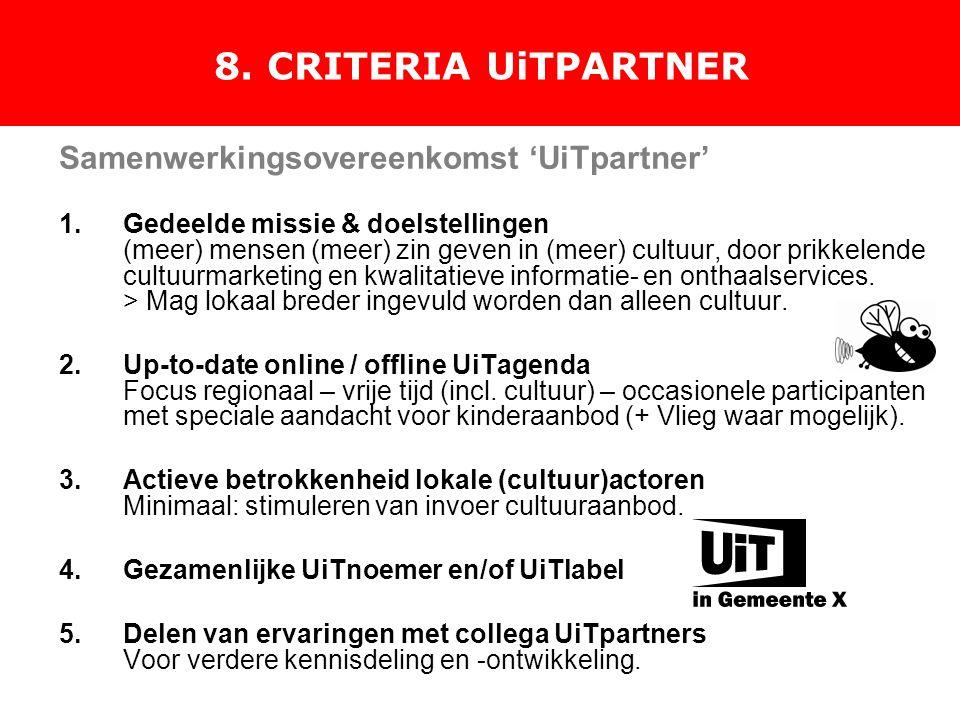 8. CRITERIA UiTPARTNER Samenwerkingsovereenkomst 'UiTpartner' 1.Gedeelde missie & doelstellingen (meer) mensen (meer) zin geven in (meer) cultuur, doo