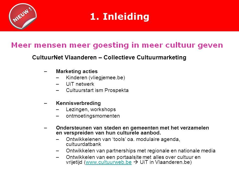 1. Inleiding CultuurNet Vlaanderen – Collectieve Cultuurmarketing –Marketing acties –Kinderen (vliegjemee.be) –UiT netwerk –Cultuurstart ism Prospekta