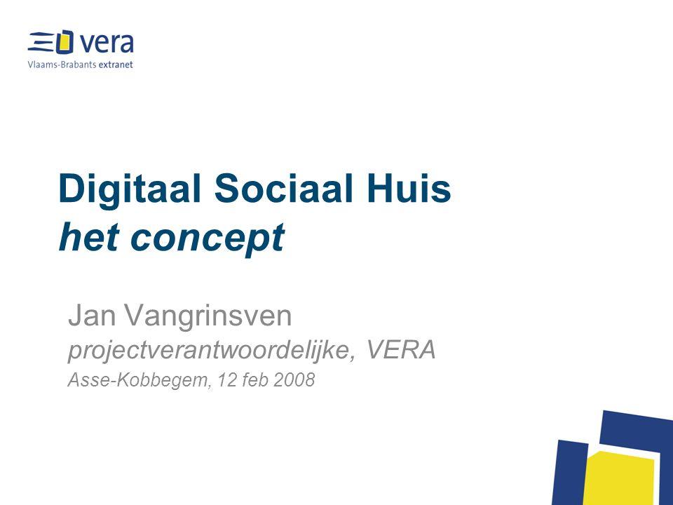 Digitaal Sociaal Huis het concept Jan Vangrinsven projectverantwoordelijke, VERA Asse-Kobbegem, 12 feb 2008