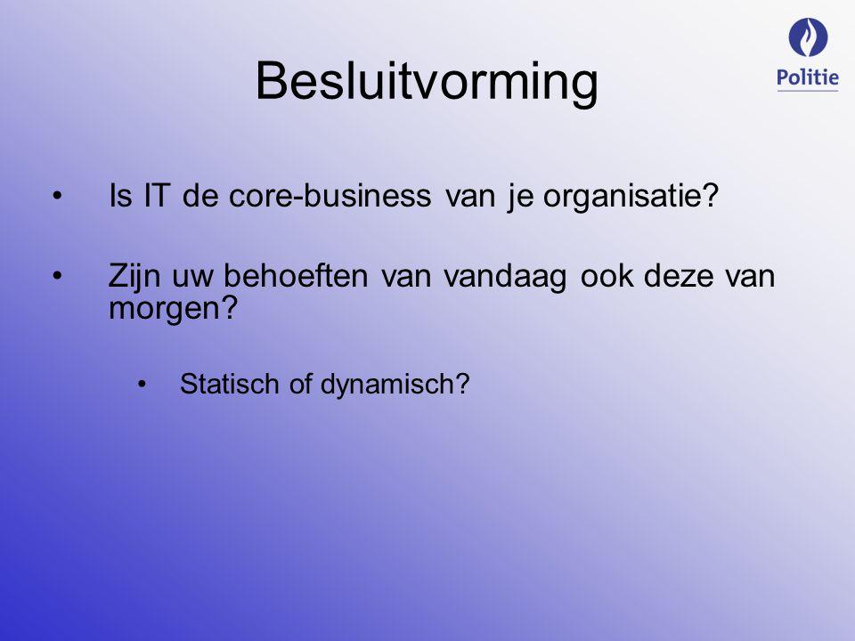 Besluitvorming Is IT de core-business van je organisatie.