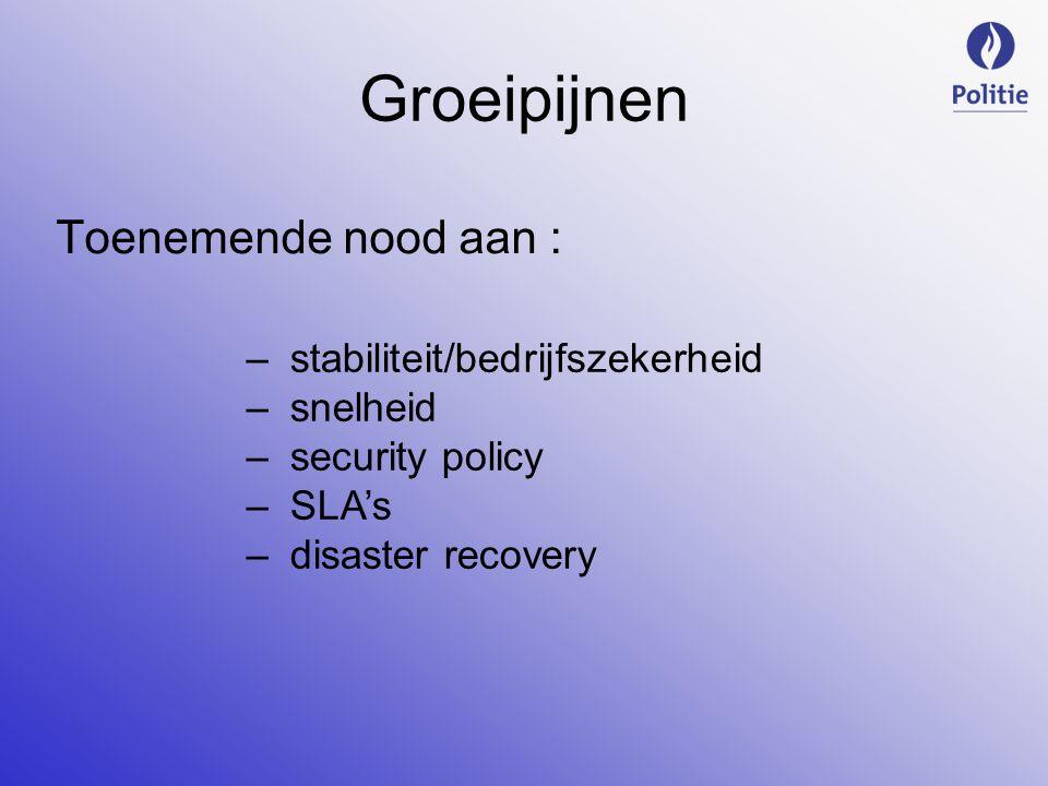 Groeipijnen Toenemende nood aan : –stabiliteit/bedrijfszekerheid –snelheid –security policy –SLA's –disaster recovery