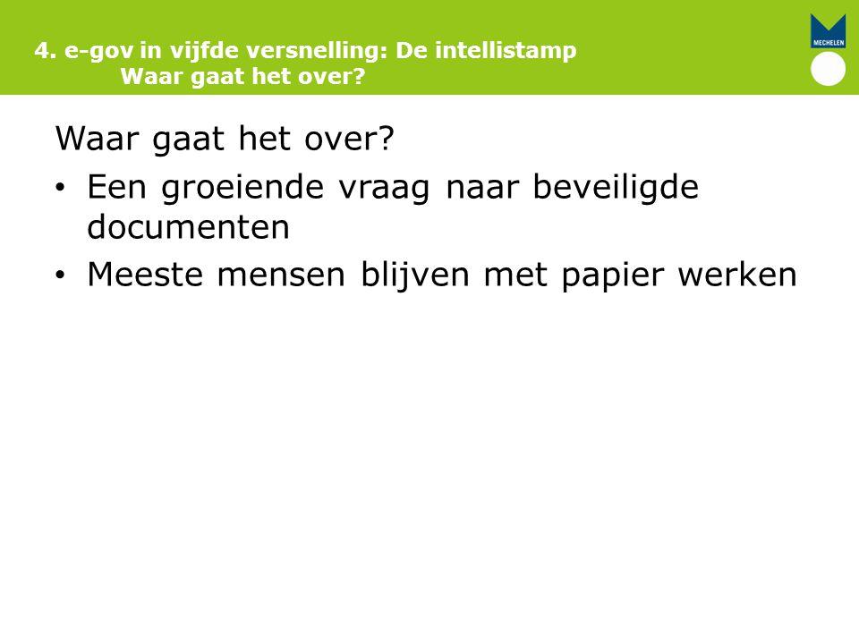 Waar gaat het over? Een groeiende vraag naar beveiligde documenten Meeste mensen blijven met papier werken 4. e-gov in vijfde versnelling: De intellis