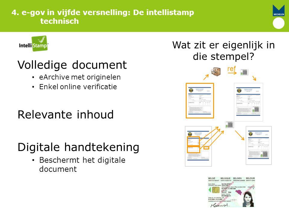 4. e-gov in vijfde versnelling: De intellistamp technisch Wat zit er eigenlijk in die stempel? Volledige document eArchive met originelen Enkel online