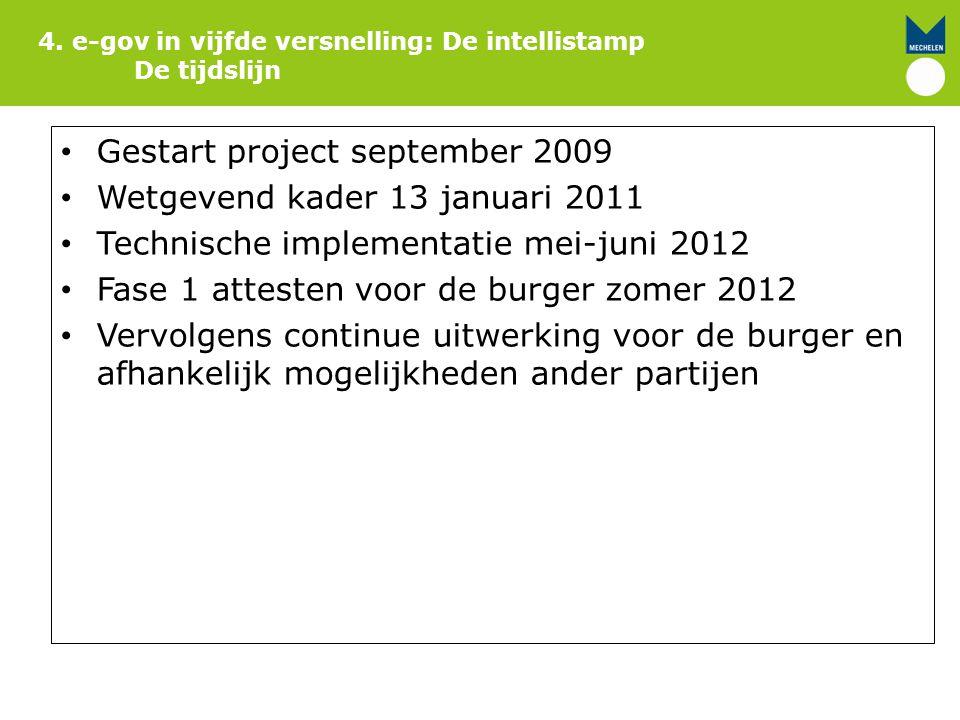4. e-gov in vijfde versnelling: De intellistamp De tijdslijn Gestart project september 2009 Wetgevend kader 13 januari 2011 Technische implementatie m